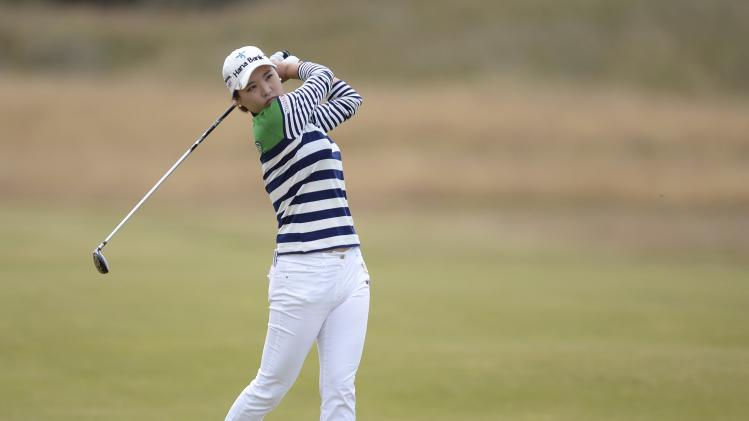 So Yeon Ryu of South Korea plays her second shot at the 1st hole during the women's British Open golf tournament at Royal Birkdale Golf Club in Southport
