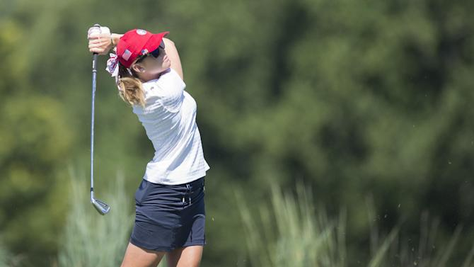 US golfer Paula Creamer tees off during the second round of the LGPA International Crown at Caves Valley Golf Club in Owings Mills, Maryland, on July 25, 2014
