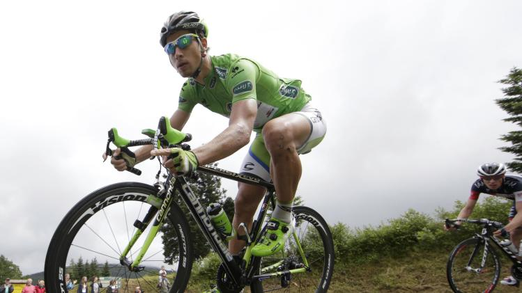 Cannondale team rider Peter Sagan of Slovakia cycles during the 161.5-km tenth stage of the Tour de France cycling race