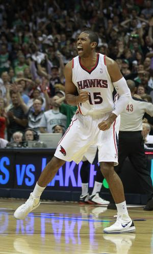 Atlanta Hawks center Al Horford (15) reacts as time expires in their 87-86 win over Boston Celtics in Game 5 of an NBA first-round playoff series basketball game Tuesday, May 8, 2012, in Atlanta. (AP Photo/John Bazemore)