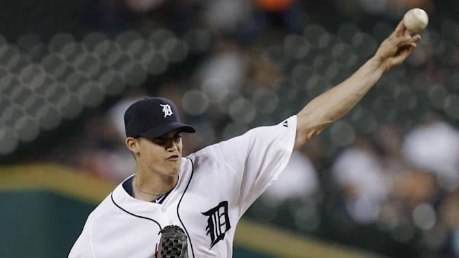 Tigers' Lobstein tops Giants 6-1 for first win