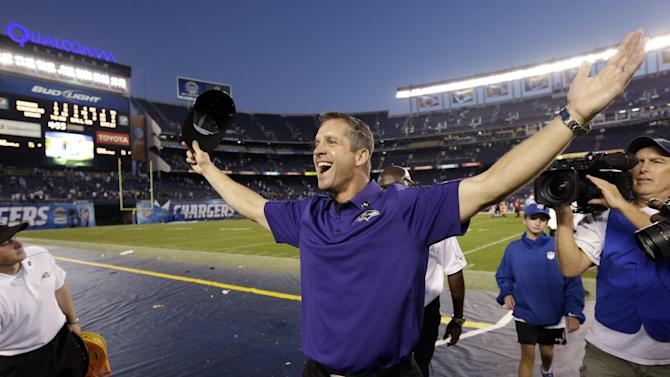 Baltimore Ravens head coach John Harbaugh celebrates after his team's 16-13 overtime win against the San Diego Chargers in an NFL football game, Sunday, Nov. 25, 2012, in San Diego. (AP Photo/Gregory Bull)