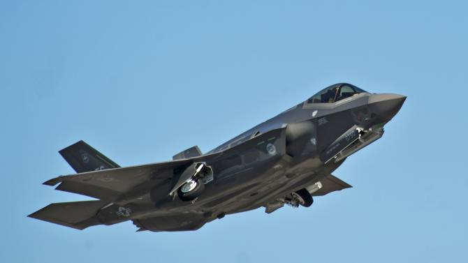 File photo of F-35A Lightning II Joint Strike Fighter taking off on a training sortie at Eglin Air Force Base, Florida