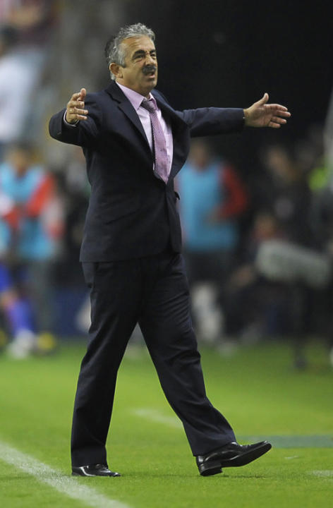 Then Sporting Gijon's Coach Manuel Preciado Reacting  AFP/Getty Images