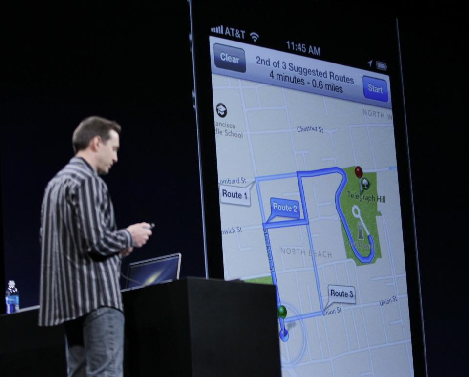 Apple's Scott Forstall talks about the new Apple Turn By Turn Directions at the Apple Developers Conference in San Francisco, Monday, June 11, 2012. New iPhone and Mac software and updated Mac computers were among the highlights Monday at Apple Inc.'s annual conference for software developers. (AP Photo/Paul Sakuma)