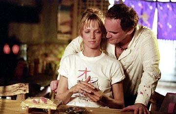 Uma Thurman and director Quentin Tarantino on the set of Miramax's Kill Bill Vol. 2