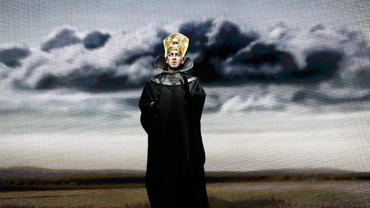 """In this April 12, 2013 photo provided by the New York City Opera, Wayne Tigges as Faraone (Pharaoh)  performs during the New York City Opera's final dress rehearsal of Rossini's rarely performed """"Mose in Egitto (Moses in Egypt),"""" at the City Center in New York. (AP Photo/New York City Opera, Carol Rosegg)"""