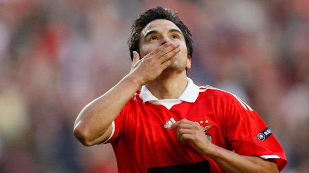 FOOTBALL Europa League Benfica's Javier Saviola after scoring against Everton in Lisbon