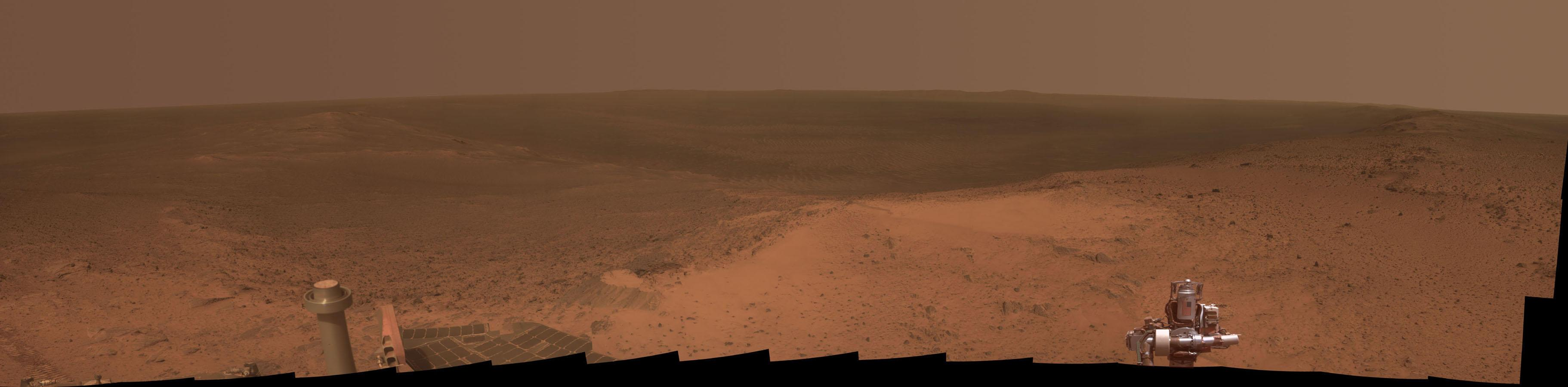 Mars rover reaches highest point in 7 years, snaps this panorama