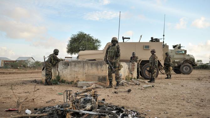 AMISOM troops arrive in the town of Kurtunwaarey in the Lower Shabelle region of Somalia