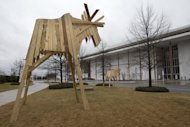 "This photo taken Feb. 19, 2013, shows the exhibit ""Elk Towers,"" by artist Juha Pykalainen, outside the Kennedy Center in Washington during a media preview of ""Nordic Cool,"" an international festival being held at the Kennedy Center . More than 700 artists from Denmark, Finland, Iceland, Norway and Sweden, as well as Greenland, the Faroe Islands and the Aland Islands will present their work in theater, dance, music, visual arts, design, film, architecture and cuisine. (AP Photo/Jacquelyn Martin)"