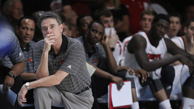Louisville coach Rick Pitino watches as Duke takes the lead late in an NCAA college basketball game at the Battle 4 Atlantis tournament, Saturday, Nov. 24, 2012, in Paradise Island,  Bahamas. Duke won 76-71 to win the tournament. (AP Photo/John Bazemore)