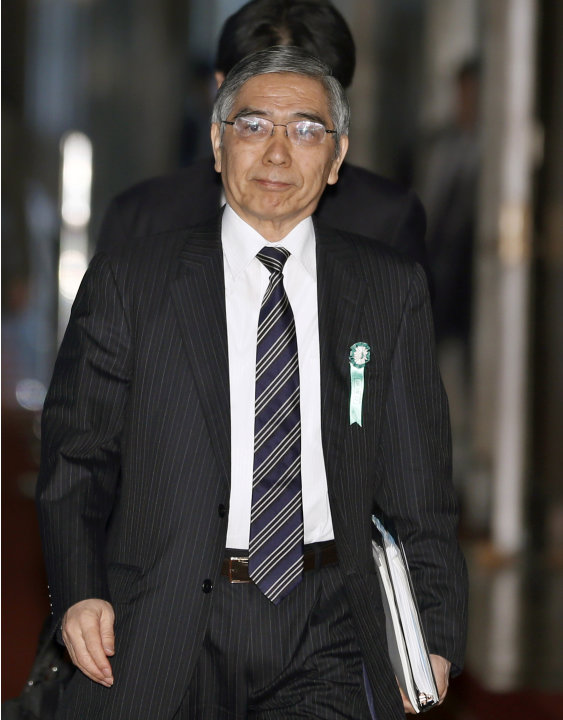 Asian Development Bank President Haruhiko Kuroda, who was recently nominated by Japan's Prime Minister Shinzo Abe to head the country's central bank, arrives at a lower house committee meeting in Toky