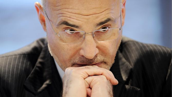FILE - In this Jan. 27, 2010, file photo, Leo Apotheker, speaks at a press conference in Frankfurt. Hewlett-Packard Co. said Tuesday, Nov. 20, 2012, that a British company it bought for $9.7 billion  lied about its finances, resulting in a massive write-down of the value of the business. The deal was greenlighted by HP CEO Meg Whitman's predecessor, Leo Apotheker, but closed in October 2011, three weeks into Whitman's tenure.  (AP Photo/dapd,Thomas Lohnes)
