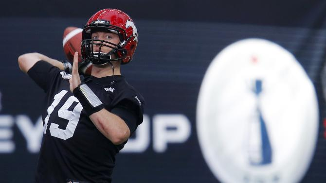 Calgary Stampeders' quarterback Mitchell throws a pass during his team's practice at the CFL's 102nd Grey Cup week in Vancouver