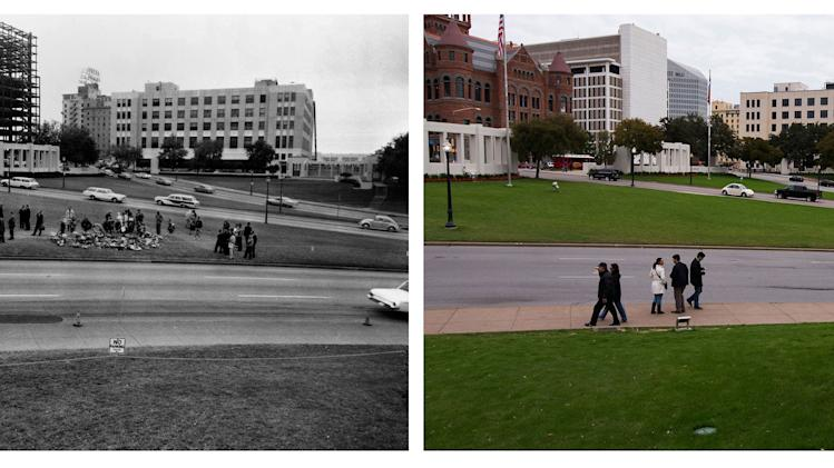 A combination shows flower arrangements and spectators lining the street along Elm Street during a reconstruction of the Dealey Plaza crime scene in 1963 and the same site in November 2013