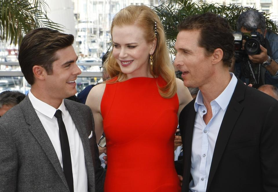 From left, actors Zac Efron, Nicole Kidman and Matthew McConaughey pose during a photo call for The Paperboy at the 65th international film festival, in Cannes, southern France, Thursday, May 24, 2012. (AP Photo/Lionel Cironneau)