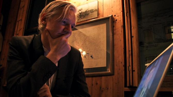 """This film publicity image released by Focus World shows Julian Assange in a scene from the documentary, """"We Steal Secrets:  The Story of WikiLeaks."""" (AP Photo/Focus World)"""