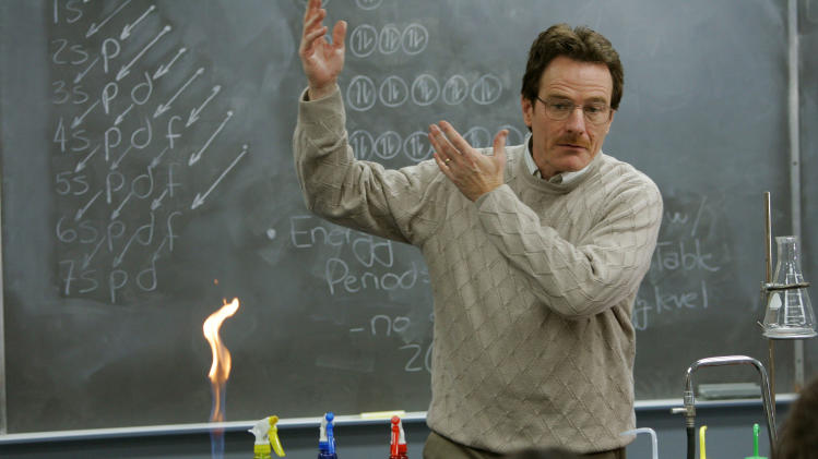 "This image released by AMC shows Walter White, played by Bryan Cranston, teaching chemistry class in a scene from the pilot episode of ""Breaking Bad."" The series finale of the popular drama series aired on Sunday, Sept. 29. (AP Photo/AMC, Doug Hyun)"