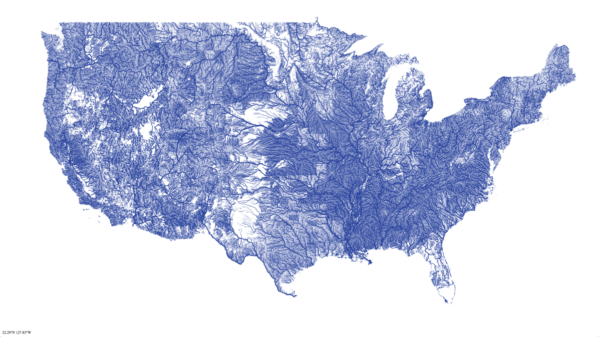 Map of Rivers in contiguous 48 states Nelson Minar