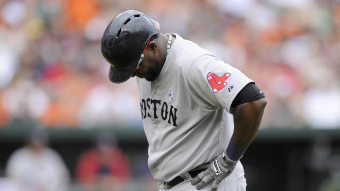 Boston Red Sox designated hitter David Ortiz reacts after he lined out during the eighth inning of a baseball game against the Baltimore Orioles, Sunday, June 16, 2013, in Baltimore. The Orioles won 6-3. (AP Photo/Nick Wass)