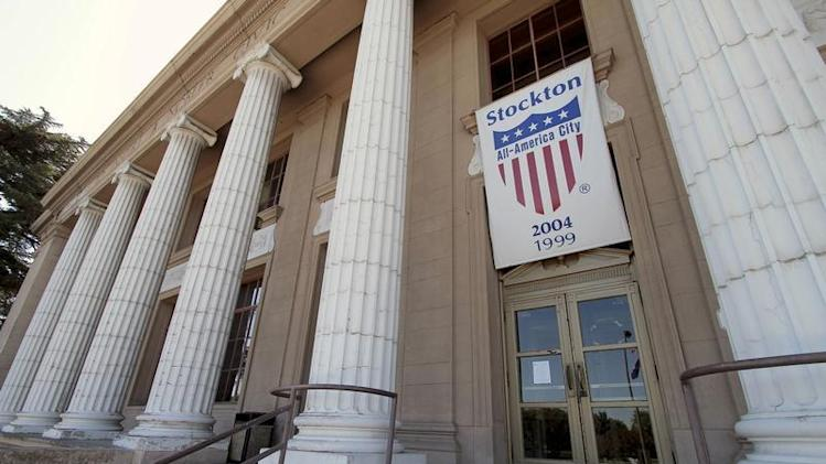 An All-America city banner hangs over City Hall in Stockton, California