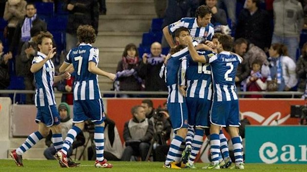 Espanyol players celebrate
