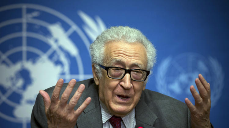 U.N. mediator for Syria Lakhdar Brahimi gestures during a press briefing at the United Nations headquarters in Geneva, Switzerland, Monday, Jan. 27, 2014. Syrians on opposite sides of their country's civil war tried again Monday to find common ground, with peace talks focusing on an aid convoy to a besieged city that once more came under mortar attack from the government. Brahimi has seen faces like these before, barely able to remain in the same room, much less speak to each other. Lebanese, Afghans, Iraqis, now Syrians. Even, two decades ago, Algerians like himself. For days now, the veteran U.N. mediator has presided over peace talks intended to lead the way out of Syria's civil war. He brought President Bashar Assad's government and the opposition face to face for the first time on Saturday, while still ensuring that they don't have to enter by the same door or address each other directly. He is 80. He is patient. (AP Photo/Anja Niedringhaus)