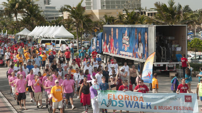 COMMERCIAL IMAGE - In this photograph taken by AP Images for AIDS Healthcare Foundation, thousands participated in the 8th annual Florida AIDS Walk and Music Festival on the beach in Fort Lauderdale, FL on Sunday, March 24th, 2013. The event raises needed funds for local HIV/AIDS service organizations. (Mitchell Zachs/AP Images for AIDS Healthcare Foundation)