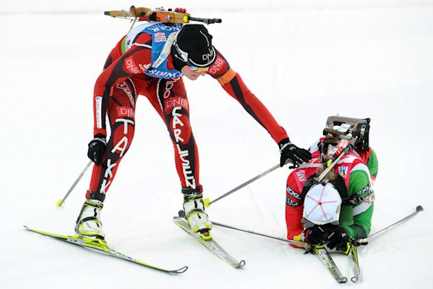 Norway's Tora Berger (L, Second Place) Congratules AFP/Getty Images