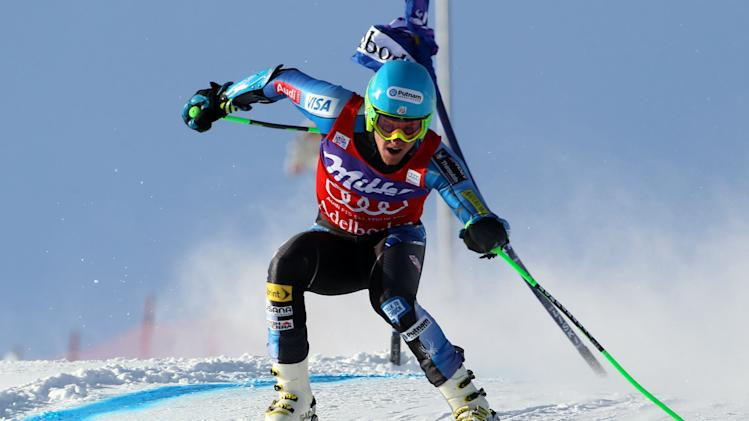 Ted Ligety from United States competes during the first run of an alpine ski, men's World Cup giant slalom in Adelboden, Switzerland, Saturday, Jan.12, 2013. (AP Photo/Alessandro Trovati)