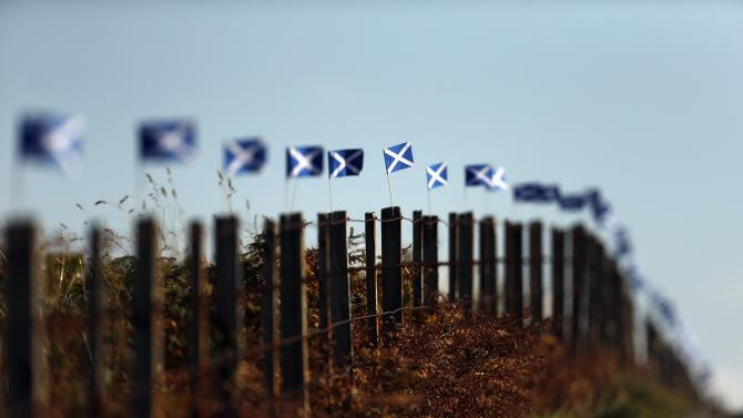 Scottish Saltire flags fly from fence posts near Portree on the Isle of Skye