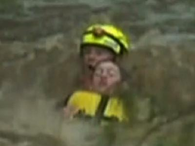 Raw: Boy Rescued From Australian Flood