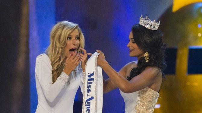Miss New York Kira Kazantsev reacts after being announced as the winner of the 2015 Miss America Competition in Atlantic City, New Jersey