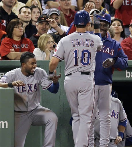 Napoli hits 2 of Texas' 6 HRs in romp over Red Sox
