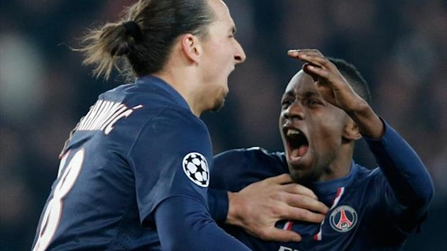 Paris St Germain's Zlatan Ibrahimovic (L) celebrates with Blaise Matuidi after scoring against Barcelona during their Champions League quarter-final first leg soccer match at the Parc des Princes Stadium in Paris, April 2, 2013 (Reuters)