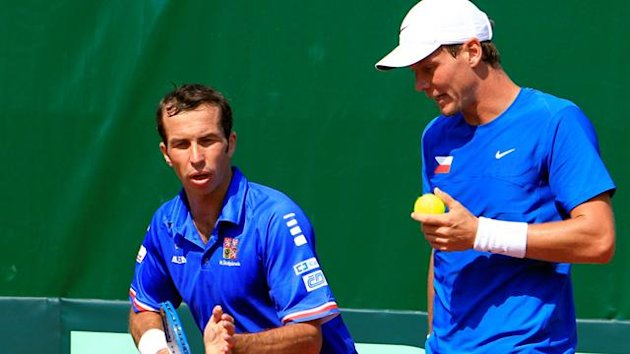 TENNIS Tomas Berdych and Radek Stepanek during their Davis Cup play-off doubles win over Romania