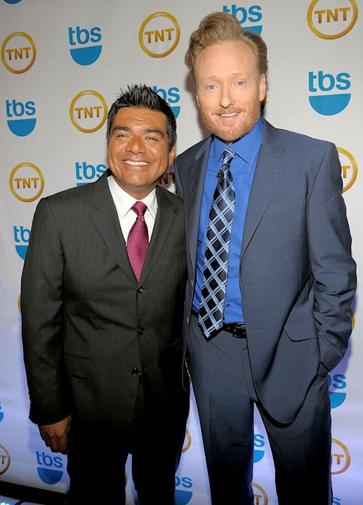 George Lopez and Conan O'Brien attend the TEN Upfront presentation at Hammerstein Ballroom on May 19, 2010 in New York City.