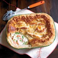 Try this variation on the traditional fish pie with smoked fish and cider and a puff pastry lid
