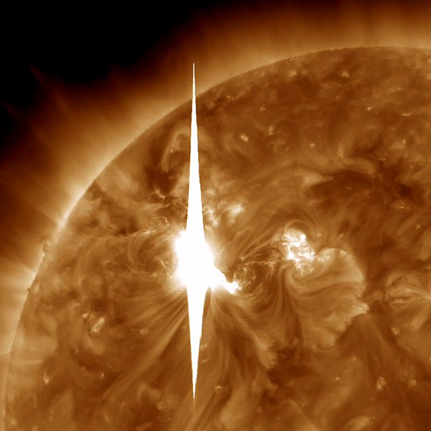 This handout image provided by NASA shows a solar flare heading toward Earth. An impressive solar flare is heading toward Earth and could disrupt power grids, GPS and airplane flights. An impressive s