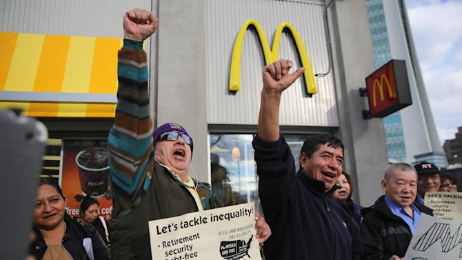 Minimum Wage Workers Demonstrate For Better Living Wage