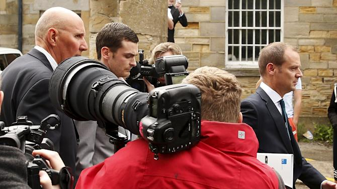 Sunderland and England soccer player Johnson leaves after a hearing at Durham Crown Court, in Durham