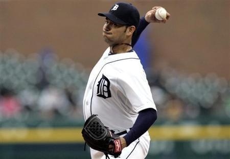 Detroit Tigers starting pitcher Anibal Sanchez throws to the Toronto Blue Jays during the first inning of their MLB American League baseball game in Detroit,