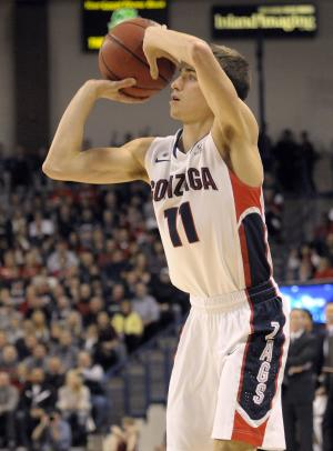 Gonzaga's David Stockton (11) puts up a three-pointer against Saint Marys, in the first half of an NCAA college basketball game, Thursday, Jan. 10, 2013, in Spokane, Wash. (AP Photo/Jed Conklin)