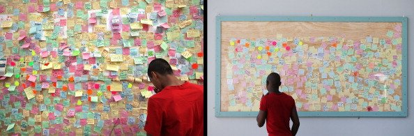 In this composite image (Left Photo) A man looks at notes posted on a 'Peace Wall' on a boarded up window of a discount store in Peckham on August 10, 2011 in London, England. (Right Photo) The Peckha