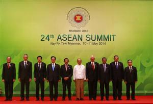 ASEAN leaders pose for pictures during the opening ceremony of the 24th ASEAN Summit in Naypyidaw