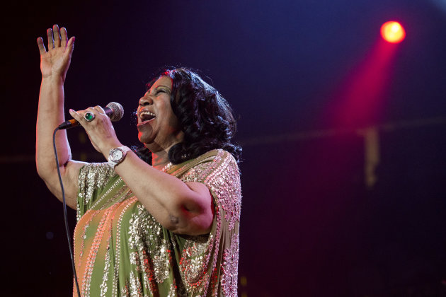 In this Saturday, May 11, 2013 photo, Aretha Franklin performs during McDonald's Gospelfest 2013 at the Prudential Center in Newark, N.J. Franklin has canceled performances in Chicago on May 20 and Connecticut on May 26 under a doctor&rsquo;s recommendation for treatment. It&rsquo;s unclear what she&rsquo;s being treated for. (Photo by Charles Sykes/Invision/AP, File)