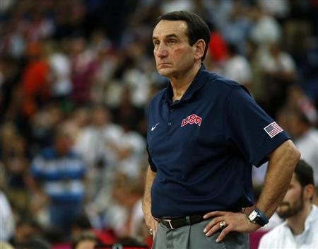 The U.S. head coach Krzyzewski watches his team against Spain during their men's gold medal basketball match at the North Greenwich Arena in London during the London 2012 Olympic Games