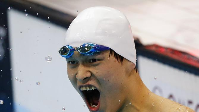 File picture of Sun reacting after winning the men's 400m freestyle final at the London 2012 Olympic Games