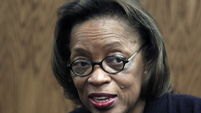 In this Dec. 14, 2011, photo, Rep. Lois DeBerry, D-Memphis, talks in her Legislative Plaza office in Nashville, Tenn. DeBerry, 80, died from pancreatic cancer Sunday, July 28, 2013, in Memphis. (AP Photo/Mark Humphrey, File)